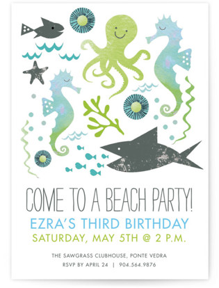 Beach pool birthday party invitations minted fun in the sun beach party childrens birthday party invitations by blue green planet stopboris Image collections