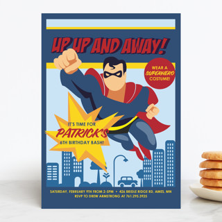 Up Up And Away - Superman Children's Birthday Party Invitations