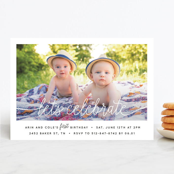 """""""Let's Celebrate a Birthday"""" - Children's Birthday Party Invitations in Sugar by Christine Taylor."""