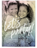 This is a colorful kids birthday invitation by Jessie Steury called Rainbow Photo with standard printing on signature in standard.