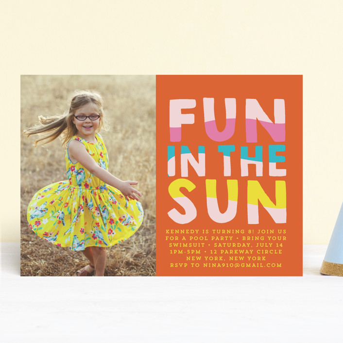 """""""Fun Sun"""" - Children's Birthday Party Invitations in Carribean by Baumbirdy."""