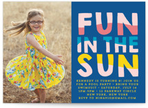 This is a blue kids birthday invitation by Baumbirdy called Fun Sun with standard printing on smooth signature in standard.