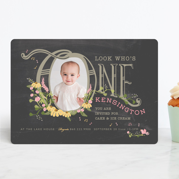 """""""Thee Big One"""" - Children's Birthday Party Invitations in Chalkboard by CaroleeXpressions."""