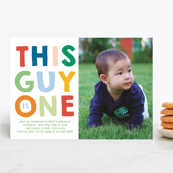 """This Guy"" - Editor's Picks Children's Birthday Party Invitations in Spectrum by Baumbirdy."