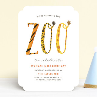 Zoo Childrens Birthday Party Invitations by Kelly Minted