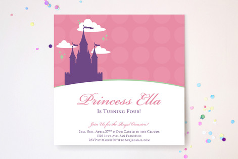 castle in the clouds Children's Birthday Party Invitations