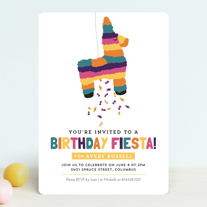 """Pinata"" - Children's Birthday Party Invitations in Seafoam by Keen Peachy."