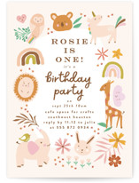 This is a pink kids birthday invitation by Phrosne Ras called safari baby with standard printing on signature in standard.