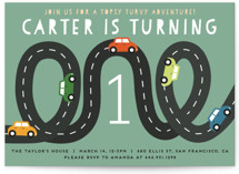 This is a green kids birthday invitation by Jennifer Lew called Little Racer with standard printing on signature in standard.