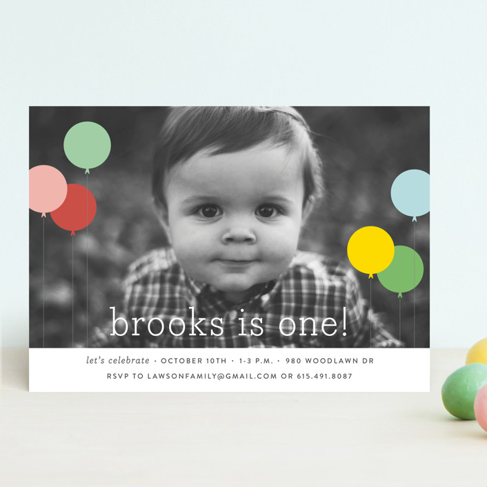 """Balloon Bunch"" - Editor's Picks Children's Birthday Party Invitations in Strawberry by Sara Hicks Malone."