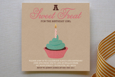 Girlie Cakes Children's Birthday Party Invitations