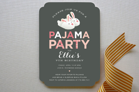 Pajama Party Childrens Birthday Party Invitations – Pajama Party Invites