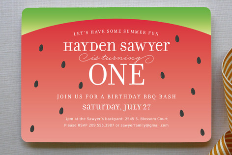 Watermelon Children's Birthday Party Invitations