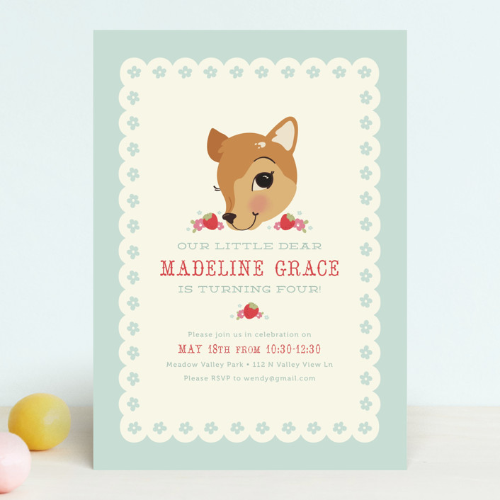 """""""Fancy Fawn"""" - Children's Birthday Party Invitations in Strawberry by Melissa Egan of Pistols."""