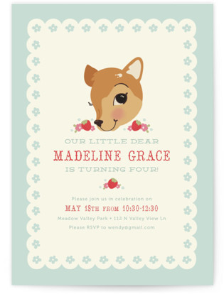 Fancy Fawn Childrens Birthday Party Invitations By Pistols