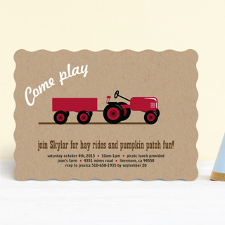A Tractor Pull Children's Birthday Party Invitations