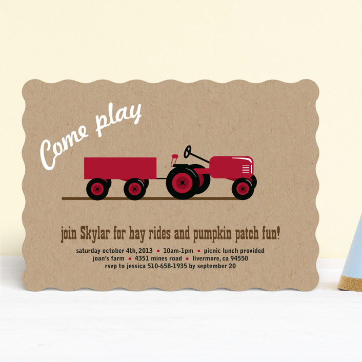 """""""A Tractor Pull"""" - Children's Birthday Party Invitations in Kraft by Two Ninjas."""