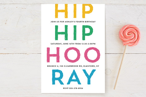 Hip Hip Hoo Ray Children's Birthday Party Invitations