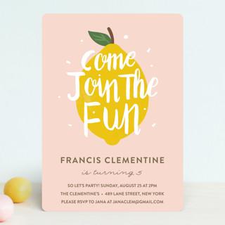 lemonade fun childrens birthday party invitations
