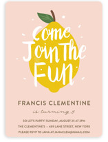 This is a pink kids birthday invitation by Joanne James called Lemonade Fun with standard printing on signature in standard.