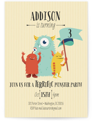 Monster Party Children's Birthday Party Invitations