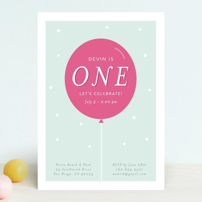 """Pastel Balloon"" - Children's Birthday Party Invitations in Raspberry by Little Print Design."