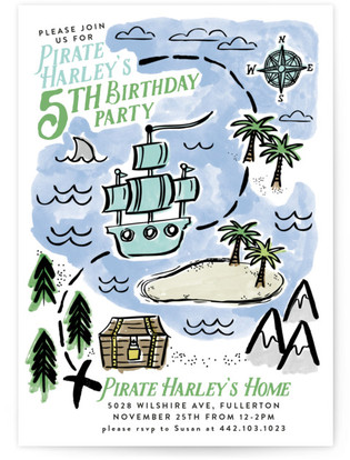 Pirate kids birthday party invitations minted pirates map childrens birthday party invitations by alethea and ruth filmwisefo