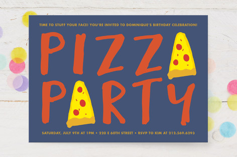 pizza party children s birthday party invitations minted