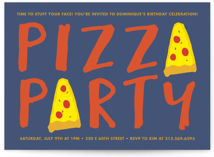 Pizza Party Children's Birthday Party Invitations
