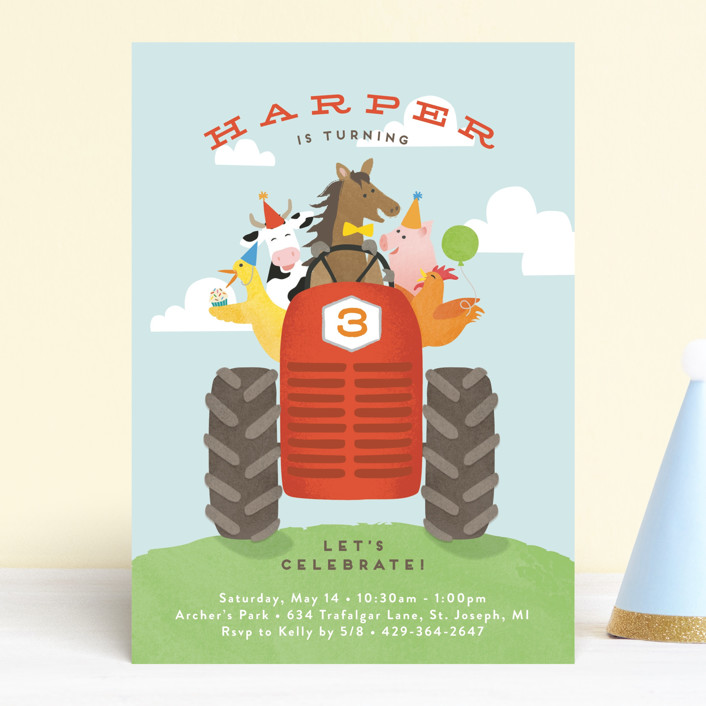 """farm animal friends"" - Children's Birthday Party Invitations in Robin's Egg by Jennifer Wick."
