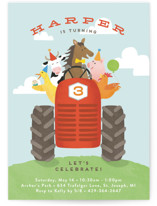 This is a blue kids birthday invitation by Jennifer Wick called farm animal friends with standard printing on signature in standard.