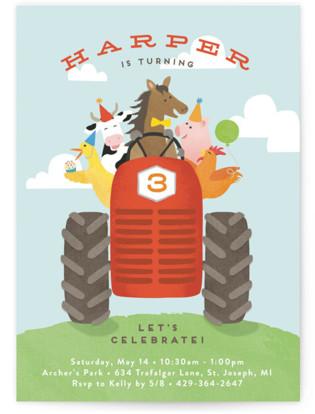 farm animal friends Children's Birthday Party Invitations