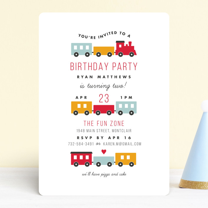 """Birthday Train"" - Children's Birthday Party Invitations in Fire Hydrant by Sandra Picco Design."
