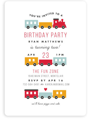 train birthday party invitations | minted, Party invitations