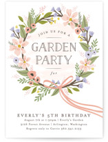 This is a pink kids birthday invitation by Karidy Walker called Floral Crown with standard printing on signature in standard.