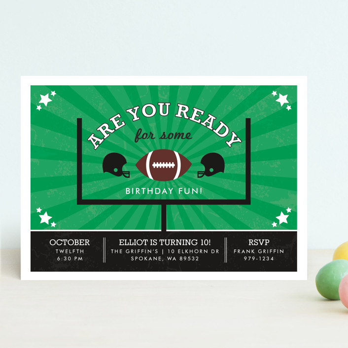 """Go Team"" - Children's Birthday Party Invitations in Sporting Green by lena barakat."
