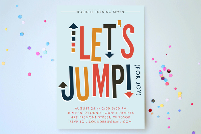 """""""Jump House"""" - Children's Birthday Party Invitations in Sky by Ellis."""