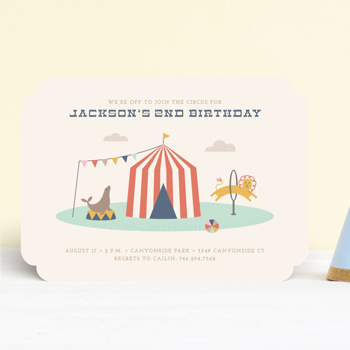 """""""Off to Join the Circus"""" - Children's Birthday Party Invitations in Navy by Amber Barkley."""