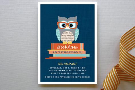 Bookworm Owl Children's Birthday Party Invitations