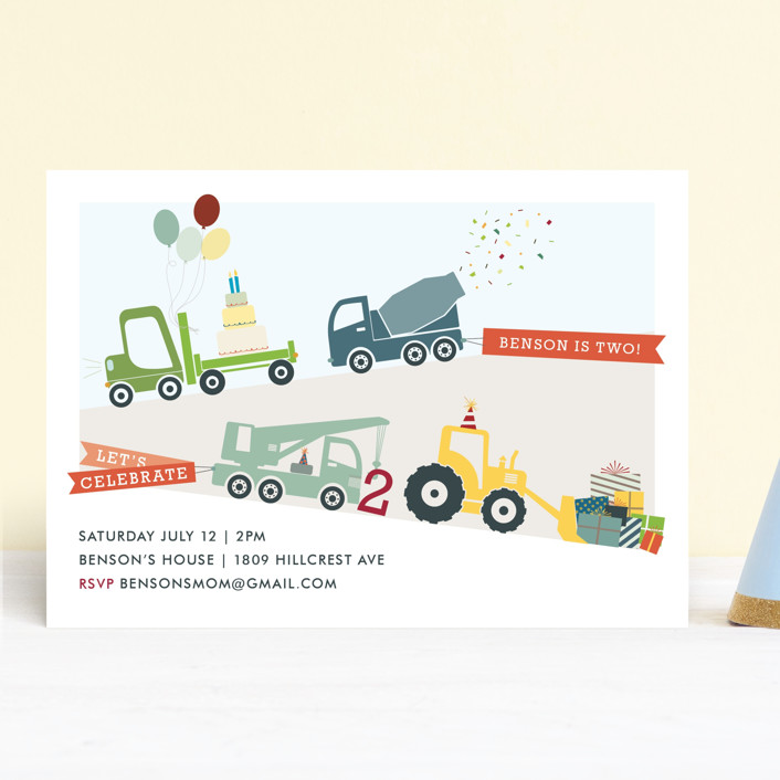 """""""Trucks on Parade"""" - Children's Birthday Party Invitations in Grass by Rebecca Bowen."""
