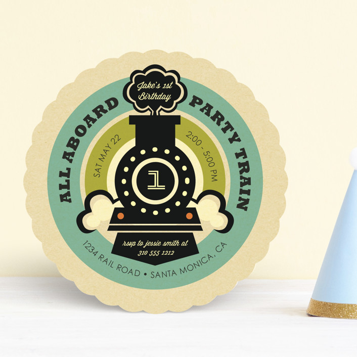 """""""Vintage Rail"""" - Children's Birthday Party Invitations in Teal by Smudge Design."""