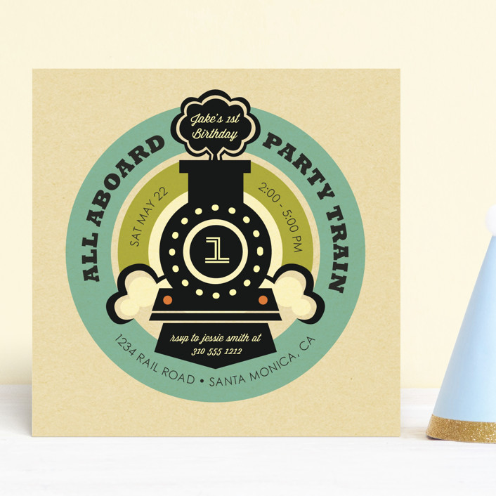 """Vintage Rail"" - Children's Birthday Party Invitations in Teal by Smudge Design."