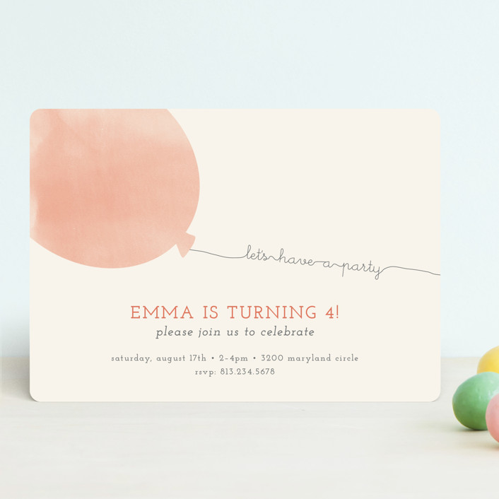 """""""Simple Balloon"""" - Children's Birthday Party Invitations in Coral by peony papeterie."""