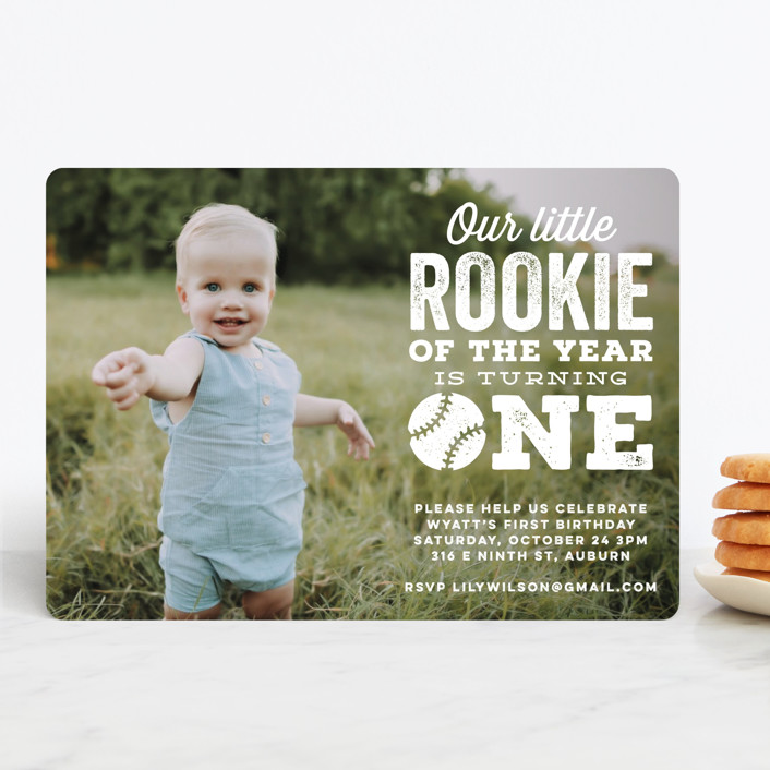 """""""Our Little Rookie"""" - Children's Birthday Party Invitations in Snow by Jessie Steury."""