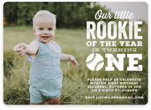 This is a white kids birthday invitation by Jessie Steury called Our Little Rookie with standard printing on smooth signature in standard.