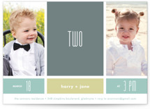 This is a grey kids birthday invitation by Carol Fazio called Modern Blocks with standard printing on smooth signature in standard.