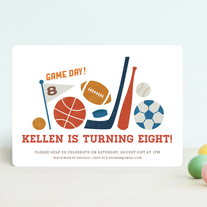 """""""Game Day"""" - Children's Birthday Party Invitations in Navy by Jessie Steury."""