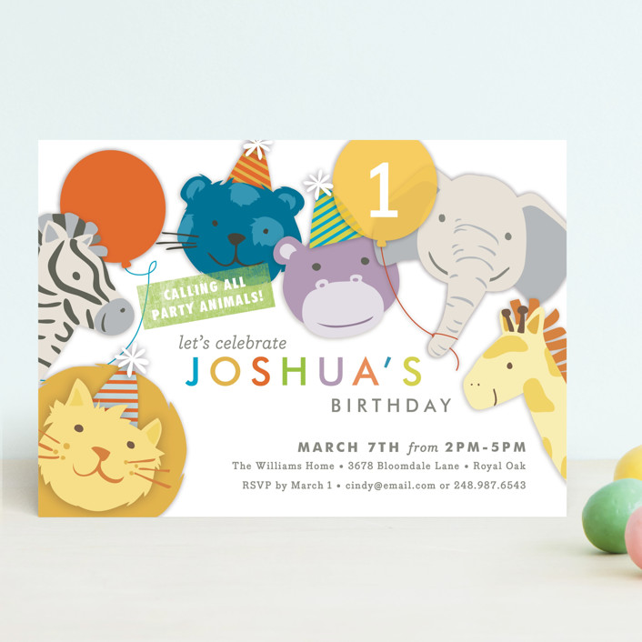 """Safari Party Animals"" - Children's Birthday Party Invitations in Classic by Snow and Ivy."