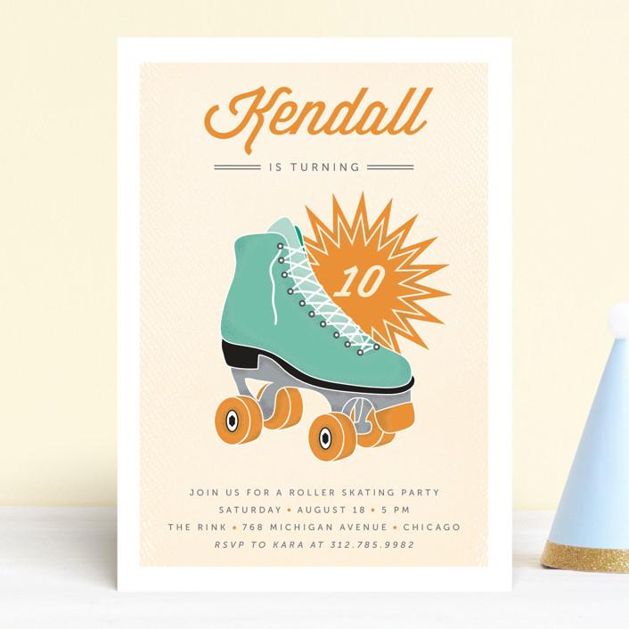 """Retro Skate"" - Children's Birthday Party Invitations in Teal by Lehan Veenker."