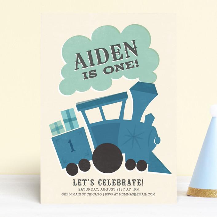 """""""Terrific Train"""" - Children's Birthday Party Invitations in Denim by Jessie Steury."""